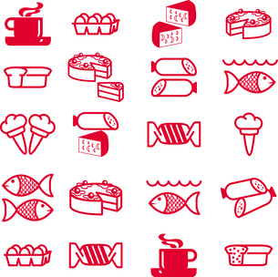 set of vector silhouettes of icons on the food themeのイラスト素材 [FYI03076414]