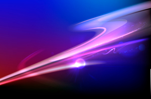 Vector illustration of blue abstract background with blurred magic neon light curved linesのイラスト素材 [FYI03076416]