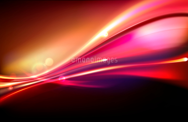 Vector illustration of red abstract background with blurred magic neon light curved linesのイラスト素材 [FYI03076418]