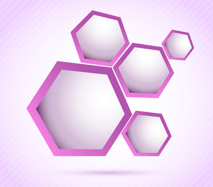 Bright background with violet hexagons and linesのイラスト素材 [FYI03076462]