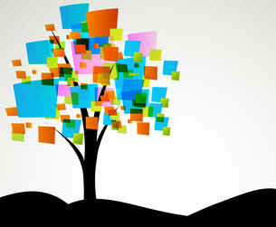 Background with abstract tree with color squareのイラスト素材 [FYI03076512]