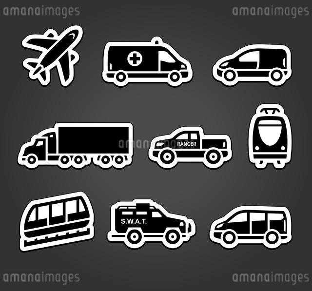 Set of stickers, transport iconsのイラスト素材 [FYI03076550]