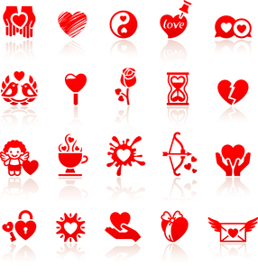 Set valentine's day red icons, love romantic symbolsのイラスト素材 [FYI03076553]