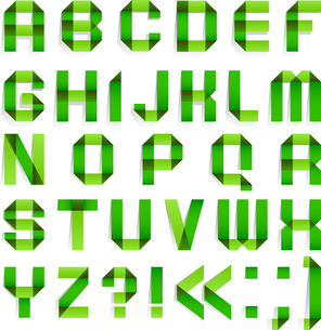 Alphabet folded paper - Green letters.のイラスト素材 [FYI03076554]