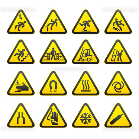 Set Simple of Triangular Warning Hazard Signsのイラスト素材 [FYI03076558]