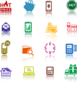 Set pictograms Shopping Icons. Color with reflectionのイラスト素材 [FYI03076562]