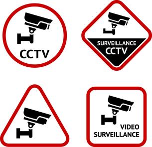 Video surveillance, set sticky labelsのイラスト素材 [FYI03076569]