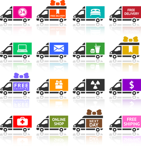 Set of Cargo trucks colored iconsのイラスト素材 [FYI03076571]