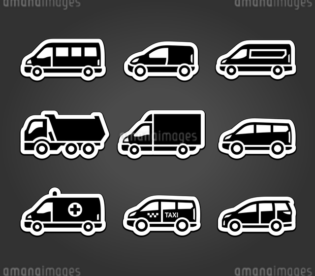 Set of sticky stickers, transport signsのイラスト素材 [FYI03076572]
