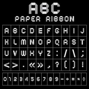 ABC font from paper tape, gray with black backgroundのイラスト素材 [FYI03076575]