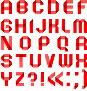 Alphabet folded of colored paper - Red lettersのイラスト素材 [FYI03076578]