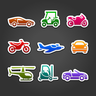 Set stickers transport color iconsのイラスト素材 [FYI03076588]