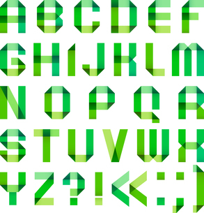 Spectral letters folded of paper ribbon-greenのイラスト素材 [FYI03076594]
