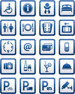 Symbols hotel services. Signs set motel servicesのイラスト素材 [FYI03076597]