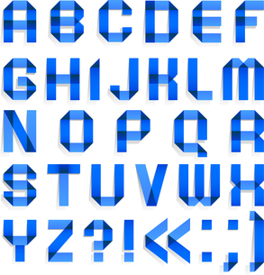 Alphabet folded of colored paper - Blue lettersのイラスト素材 [FYI03076602]