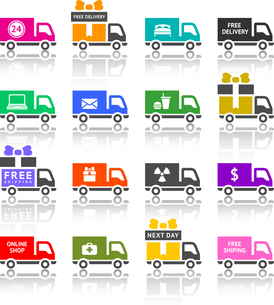 Set of truck colored iconsのイラスト素材 [FYI03076606]