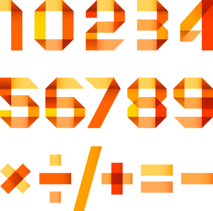 Spectral letters folded of paper orange ribbon - Arabic numeralsのイラスト素材 [FYI03076614]