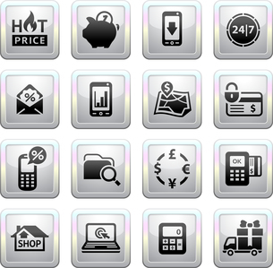 Shopping Icons. Gray. Web 2.0 iconsのイラスト素材 [FYI03076617]