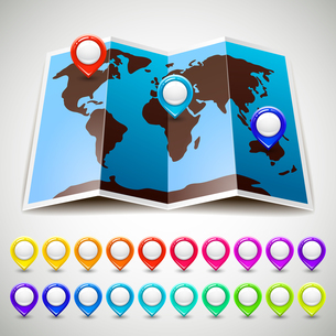 Map world with colorful pin pointers locationのイラスト素材 [FYI03076623]
