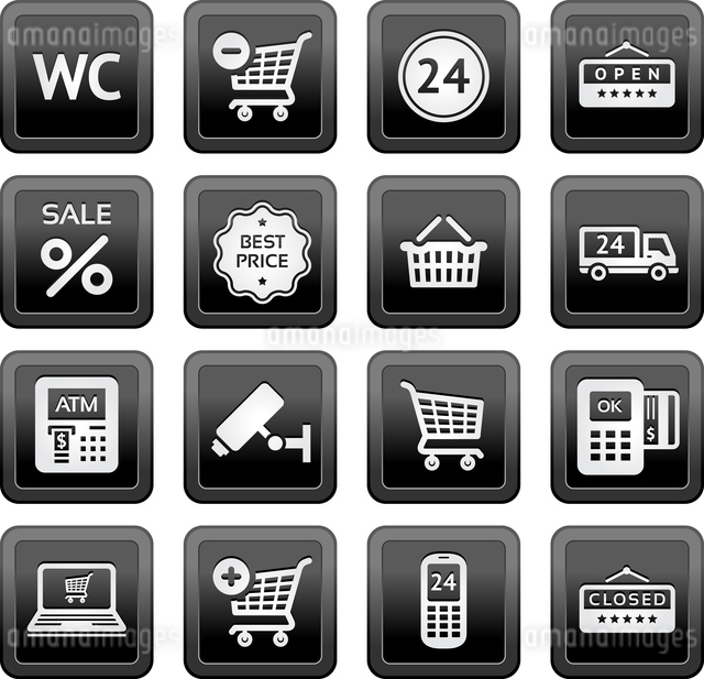 Set pictograms supermarket services, Shopping Iconsのイラスト素材 [FYI03076630]