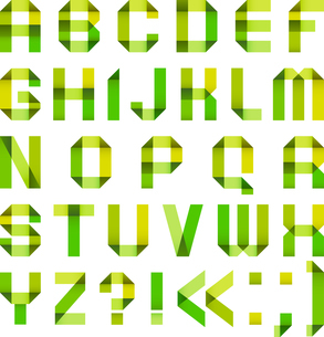 Spectral letters folded of paper ribbon-green and yellowのイラスト素材 [FYI03076637]