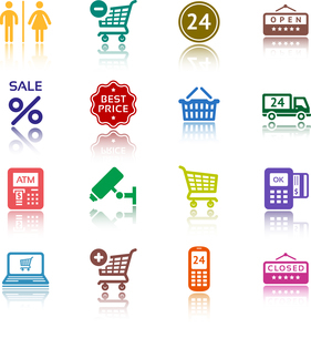 Set pictograms supermarket services, Shopping colour iconsのイラスト素材 [FYI03076649]
