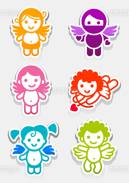 Colored stickers angel-set icons, collection symbolsのイラスト素材 [FYI03076662]