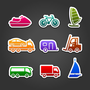 Set simple stickers color transportのイラスト素材 [FYI03076664]