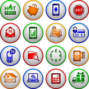 Shopping Icons. Colored round buttonsのイラスト素材 [FYI03076666]