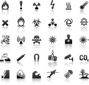 black symbols danger iconsのイラスト素材 [FYI03076667]