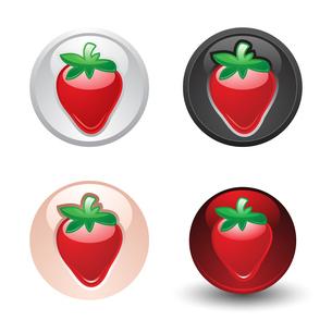 Fruits gray buttonのイラスト素材 [FYI03076673]