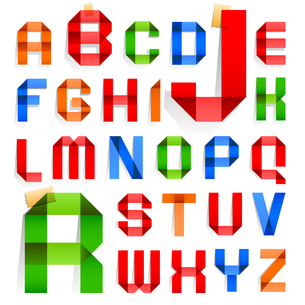 Font folded from colored paper -  Alphabetのイラスト素材 [FYI03076677]