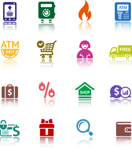 Set shopping colour iconsのイラスト素材 [FYI03076683]