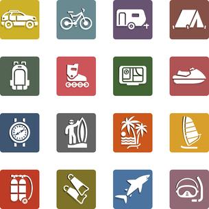 Vacation, Recreation & Travel, icons setのイラスト素材 [FYI03076692]