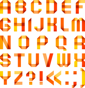 Spectral letters folded of paper ribbon-orangeのイラスト素材 [FYI03076698]