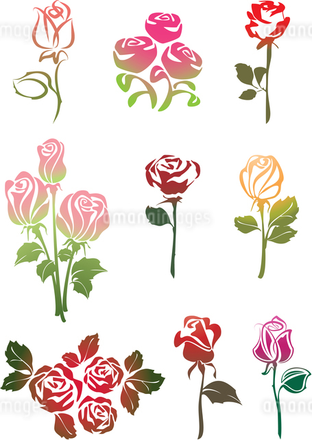 Icon set of Rosesのイラスト素材 [FYI03076704]