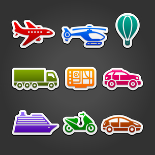 Set stickers color transportのイラスト素材 [FYI03076705]