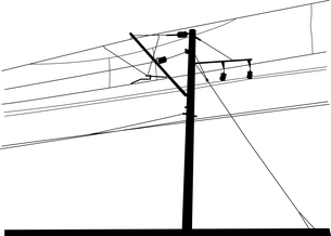 Railroad overhead lines. Contact wire. Vector illustration.のイラスト素材 [FYI03076709]