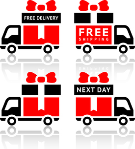 Set of truck red icons - free deliveryのイラスト素材 [FYI03076711]