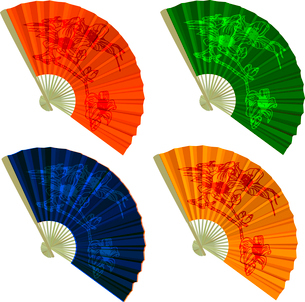 Set traditional Folding Fans with flowers. Vector illustration.のイラスト素材 [FYI03076725]