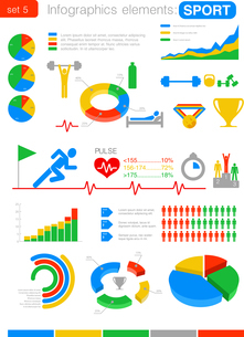 Infographics SPORT design template. Graph, charts, diagram, icons. Statistics, analytics for businesのイラスト素材 [FYI03076734]