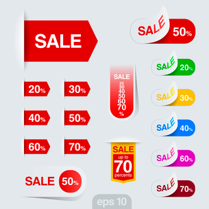 Sales badge, ribbon, sticker vector design template. Discount sale collection. Retail toolkit.のイラスト素材 [FYI03076737]