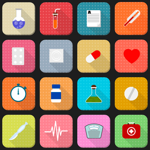 16 flat icons of health and medicineのイラスト素材 [FYI03076744]