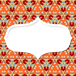 Frame in the Mexican style on the background with geometric pattern.のイラスト素材 [FYI03076762]