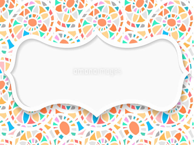 Frame in the Indian style on the background with mosaic pattern.のイラスト素材 [FYI03076764]