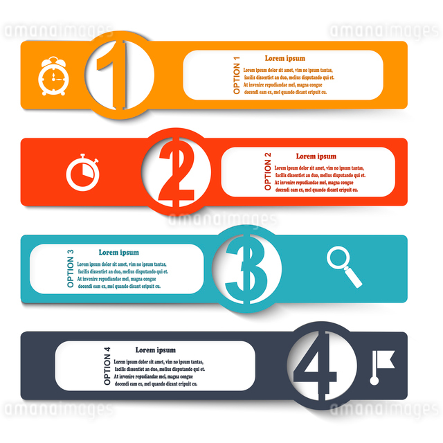 Color elements of infographics with symbols magnifying glass, clock, stopwatch and flag. Vector illuのイラスト素材 [FYI03076791]