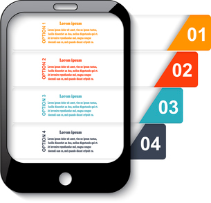Black mobile phone with elements of infographics - colored stripes for your text and design. Vectorのイラスト素材 [FYI03076793]