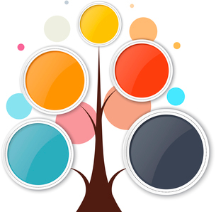 Abstract growth tree concept for communication, business, and web design. Vector illustration.のイラスト素材 [FYI03076794]