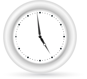 Gray wall clock on the white backgroundのイラスト素材 [FYI03076836]