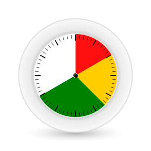 Clock on a white background with bright sectors. Vector illustrationsのイラスト素材 [FYI03076840]